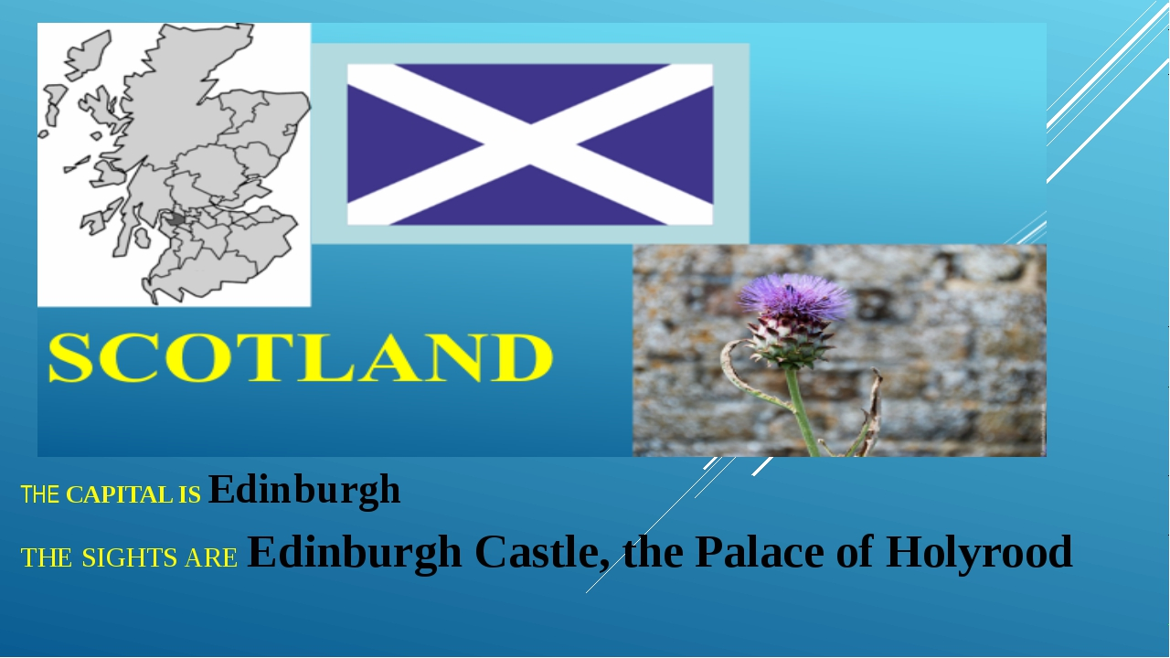 THE CAPITAL IS Edinburgh THE SIGHTS ARE Edinburgh Castle, the Palace of Holyr...