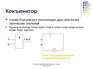 Конъюнктор Схема И реализует конъюнкцию двух или более логических значений Ед
