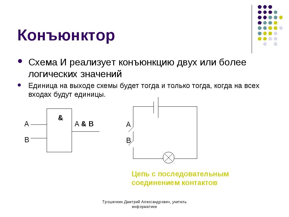 Конъюнктор Схема И реализует конъюнкцию двух или более логических значений Ед...
