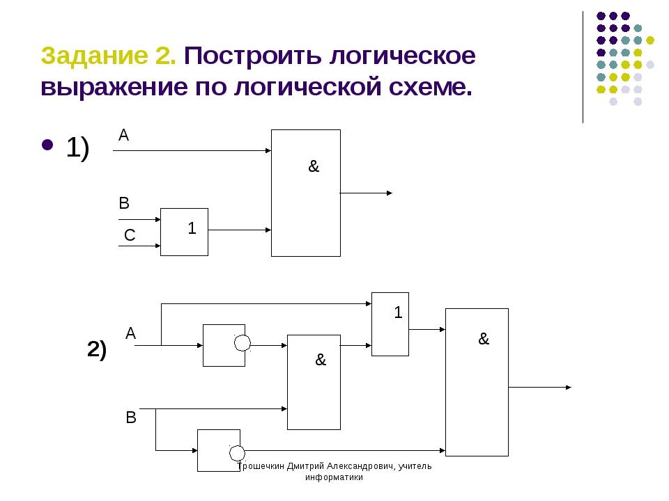 Задание 2. Построить логическое выражение по логической схеме. 1) 1 & А В С 2...