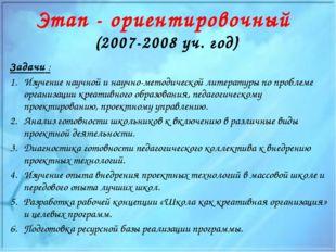 Этап - ориентировочный (2007-2008 уч. год) Задачи : Изучение научной и научно