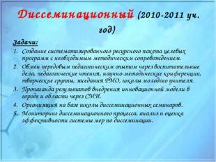 Диссеминационный (2010-2011 уч. год) Задачи: Создание систематизированного ре