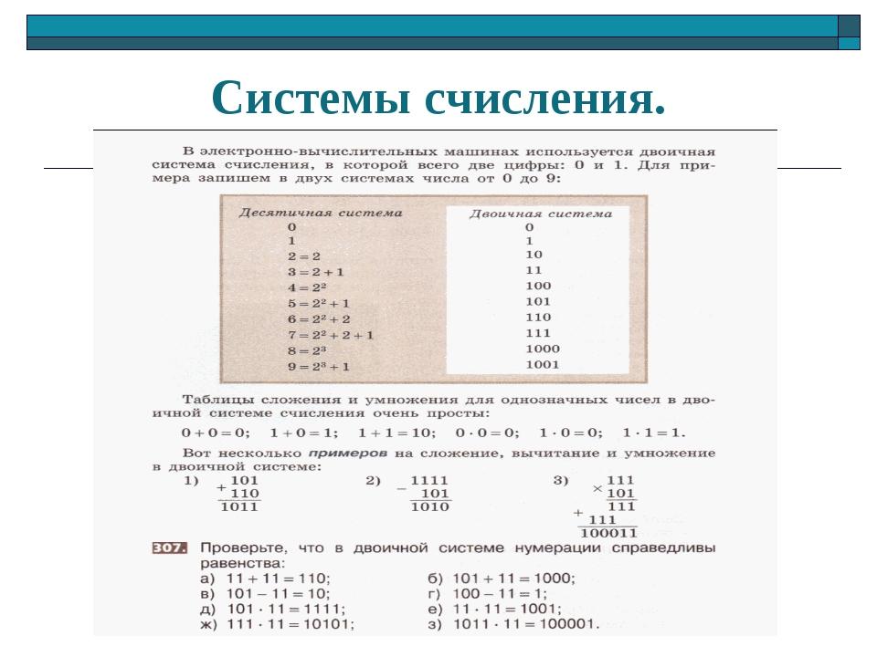 Системы счисления.