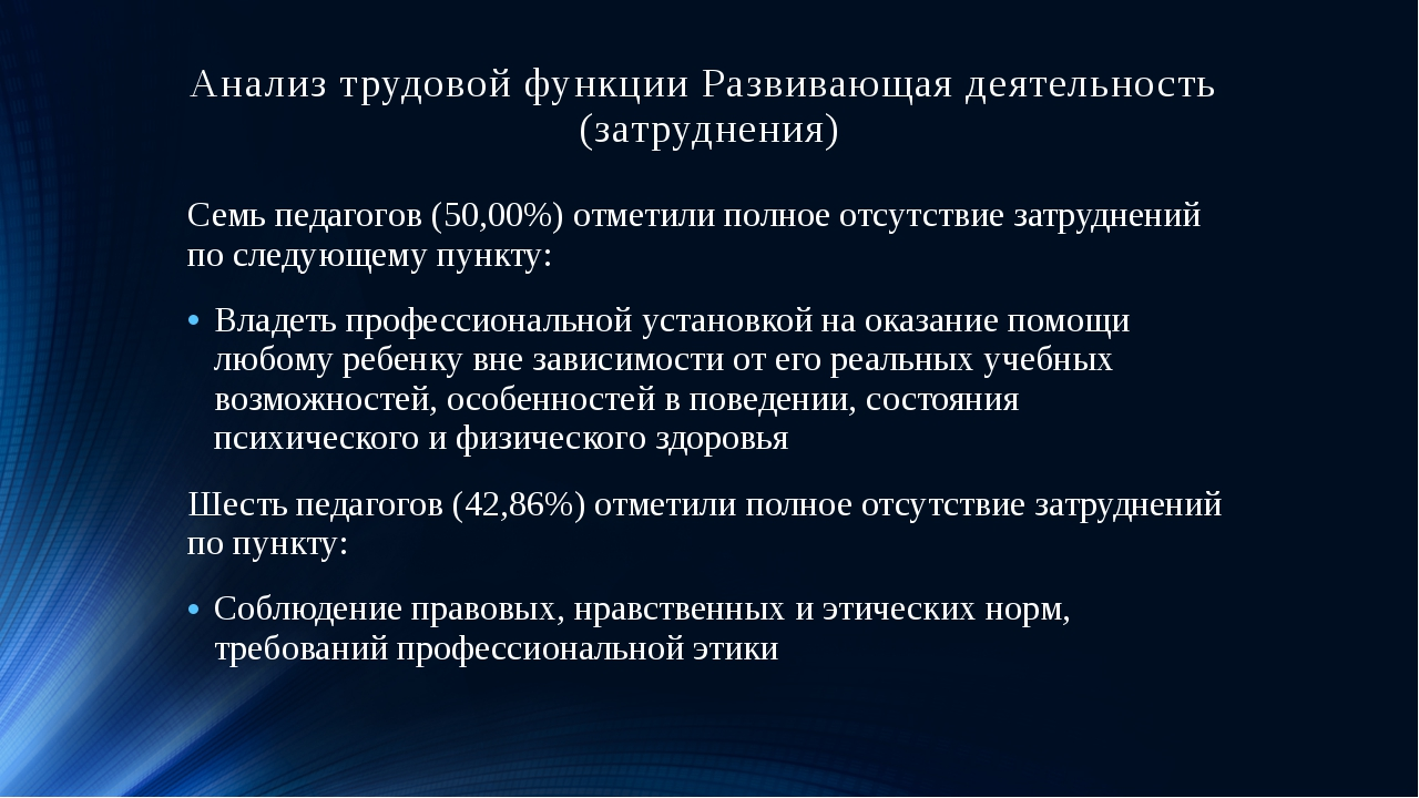 Анализ трудовой функции Развивающая деятельность (затруднения) Семь педагогов...