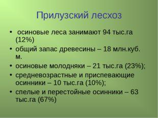 Прилузский лесхоз осиновые леса занимают 94 тыс.га (12%) общий запас древесин