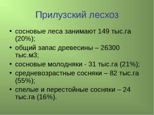 Прилузский лесхоз сосновые леса занимают 149 тыс.га (20%); общий запас древес