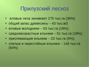 Прилузский лесхоз еловые леса занимают 275 тыс.га (36%) общий запас древесины