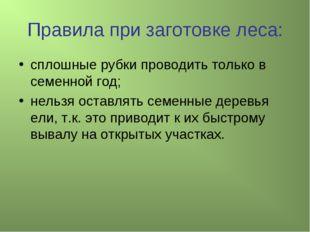 Правила при заготовке леса: сплошные рубки проводить только в семенной год; н