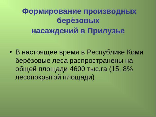 Формирование производных берёзовых насаждений в Прилузье В настоящее время в...