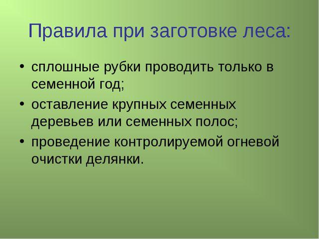 Правила при заготовке леса: сплошные рубки проводить только в семенной год; о...