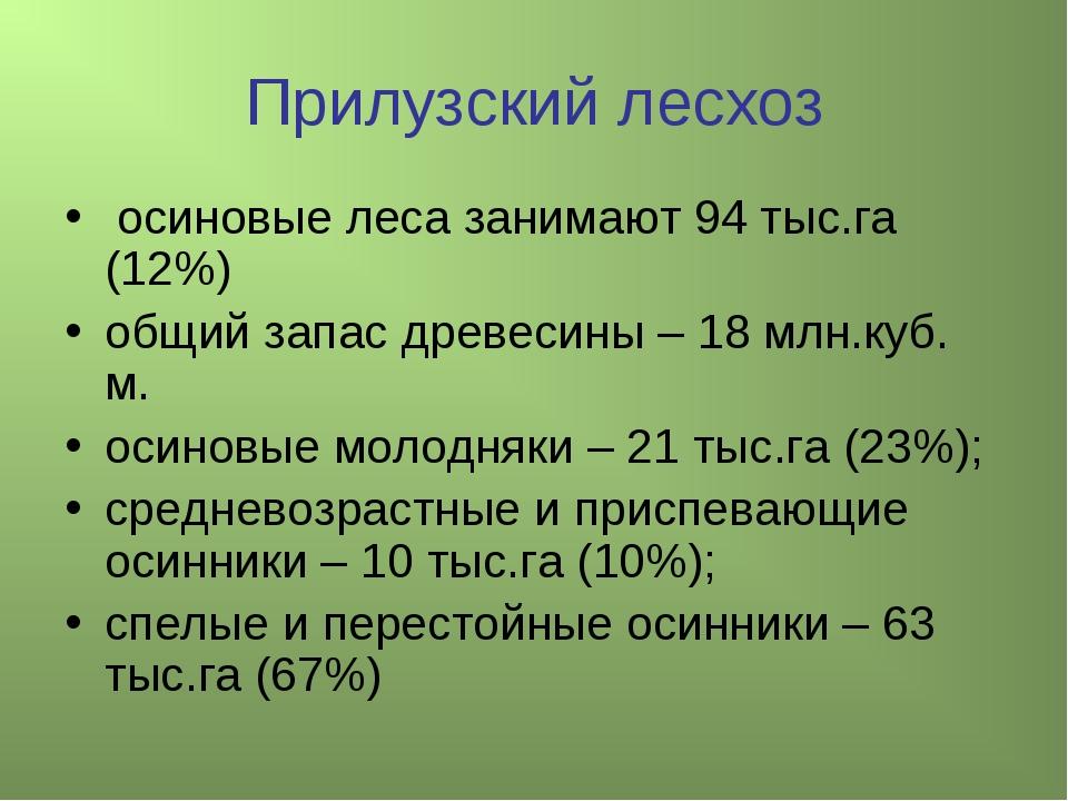 Прилузский лесхоз осиновые леса занимают 94 тыс.га (12%) общий запас древесин...