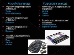 Устройства ввода Устройства ввода графической информации Сканер Видео- и Веб-