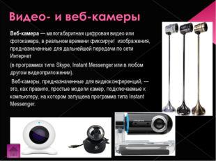 Веб-камера— малогабаритная цифровая видео или фотокамера, в реальном времени