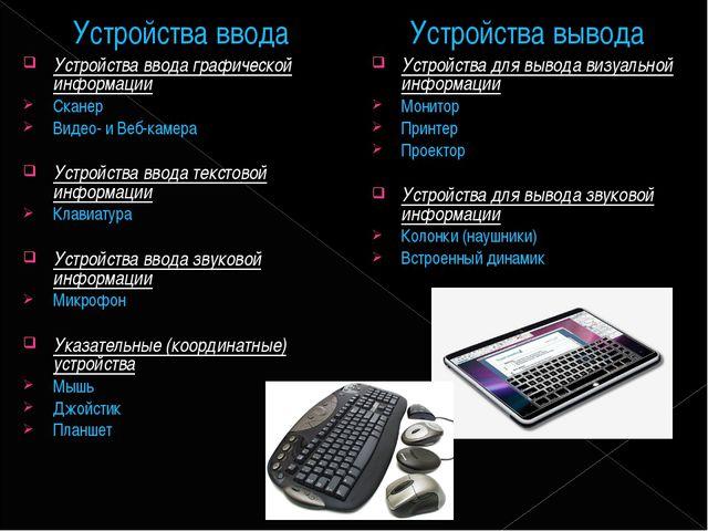 Устройства ввода Устройства ввода графической информации Сканер Видео- и Веб-...