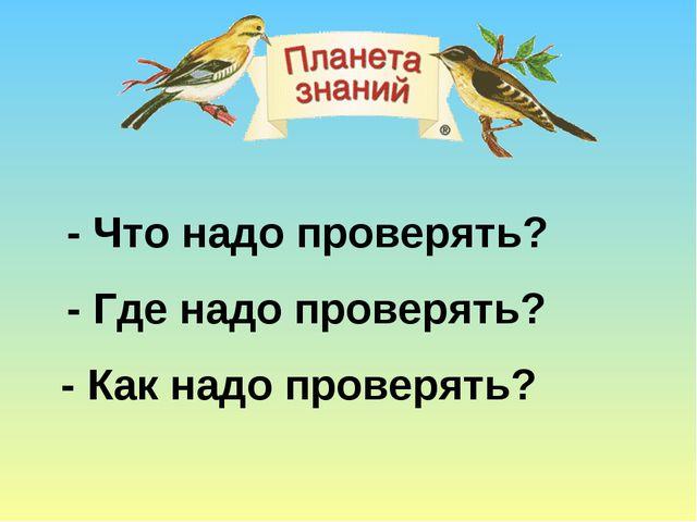 - Что надо проверять? - Где надо проверять? - Как надо проверять?