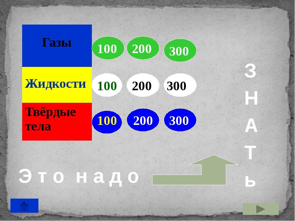 100 200 300 200 300 200 300 100 100 Э т о н а д о З Н А Т ь Газы Жидкости Тв...