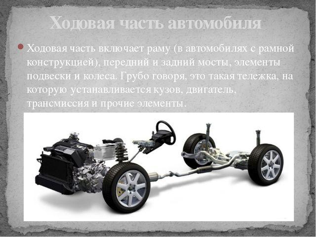 Ходовая часть включает раму (в автомобилях с рамной конструкцией), передний и...