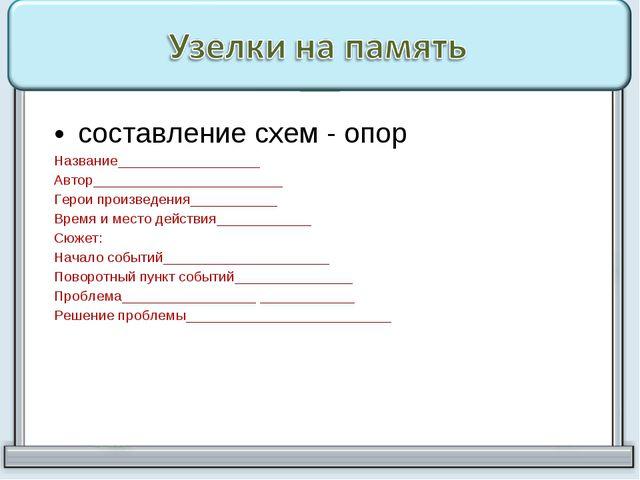 составление схем - опор Название__________________ Автор_____________________...