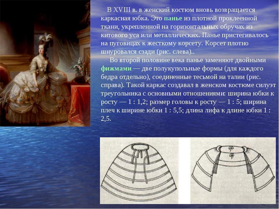 В XVIII в. в женский костюм вновь возвращается каркасная юбка. Это панье из...