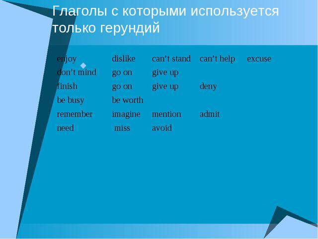 Глаголы с которыми используется только герундий