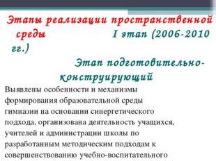 Этапы реализации пространственной среды I этап (2006-2010 гг.) Этап подготови