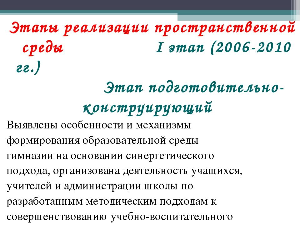 Этапы реализации пространственной среды I этап (2006-2010 гг.) Этап подготови...