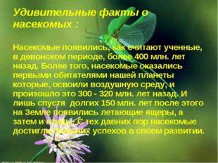 Удивительные факты о насекомых : Насекомые появились, как считают ученные, в