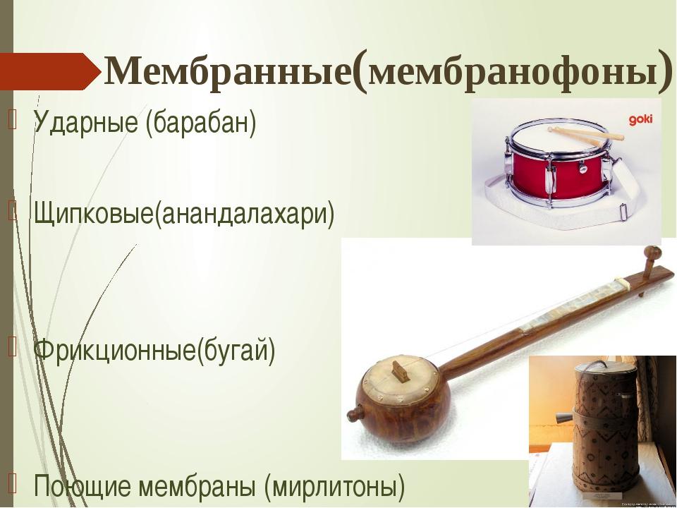 Мембранные(мембранофоны) Ударные (барабан) Щипковые(анандалахари) Фрикционные...