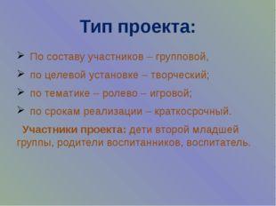Тип проекта: По составу участников – групповой, по целевой установке – творче