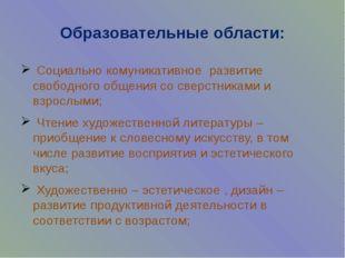 Образовательные области: Социально комуникативное развитие свободного общения