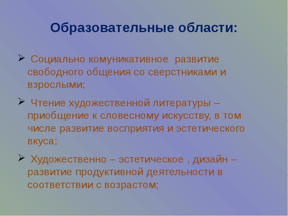 Образовательные области: Социально комуникативное развитие свободного общения...