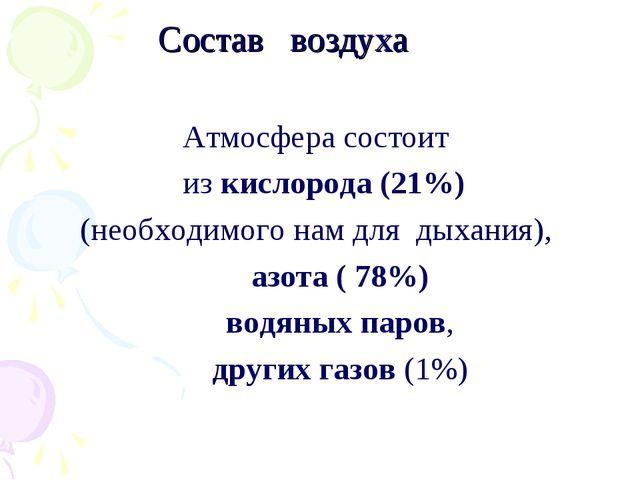 Состав воздуха Атмосфера состоит из кислорода (21%) (необходимого нам для ды...