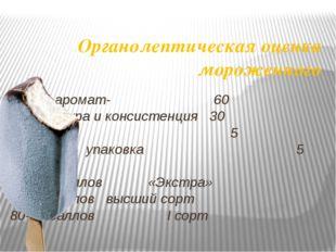 Органолептическая оценка мороженного Вкус и аромат- 60 структура и консистенц