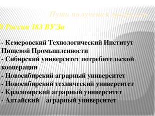 Пути получения профессии В России 183 ВУЗа - Кемеровский Технологический Инст
