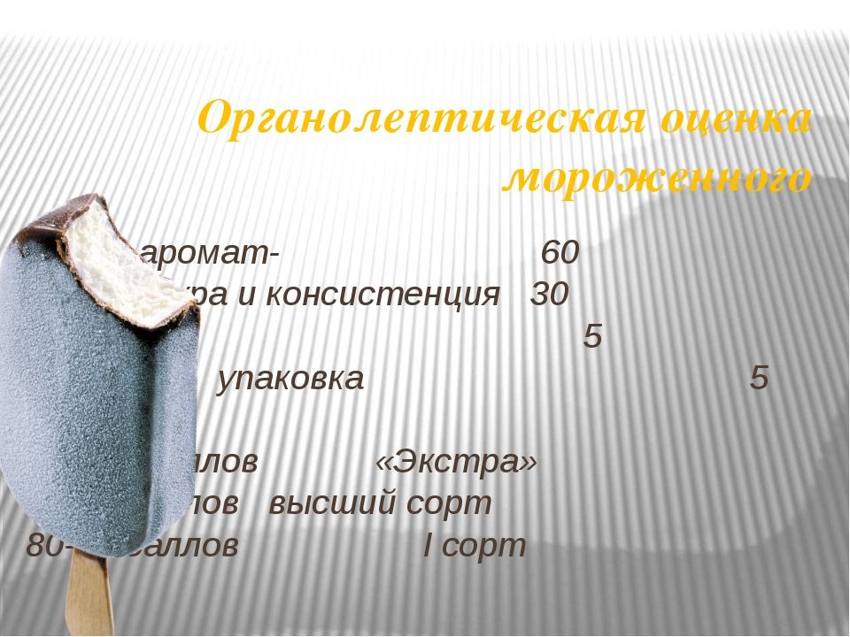 Органолептическая оценка мороженного Вкус и аромат- 60 структура и консистенц...