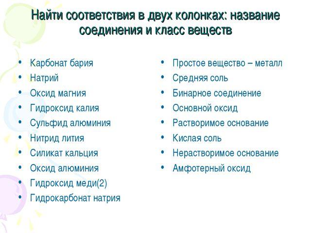 Найти соответствия в двух колонках: название соединения и класс веществ Карбо...