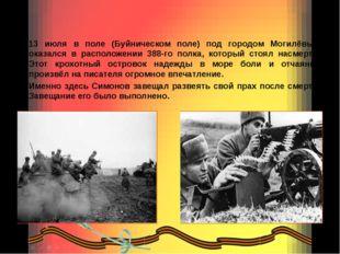 13 июля в поле (Буйническом поле) под городом Могилёвым оказался в расположен