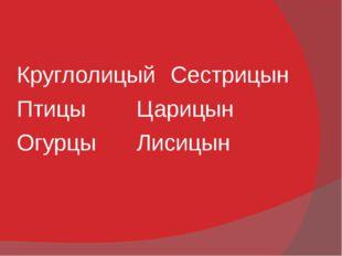 КруглолицыйСестрицын ПтицыЦарицын ОгурцыЛисицын