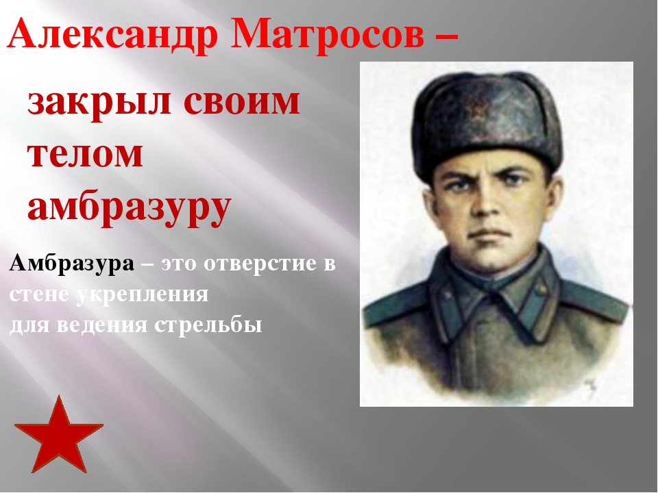 Александр Матросов – Амбразура – это отверстие в стене укрепления для ведени...