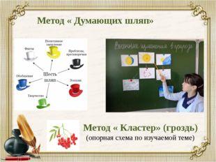 Метод « Думающих шляп» Метод « Кластер» (гроздь) (опорная схема по изучаемой