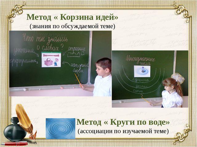 Метод « Корзина идей» (знания по обсуждаемой теме) Метод « Круги по воде» (ас...