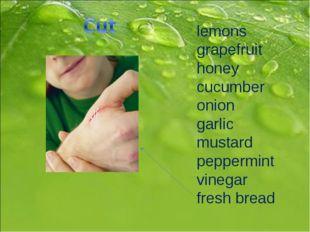 lemons grapefruit honey cucumber onion garlic mustard peppermint vinegar fres
