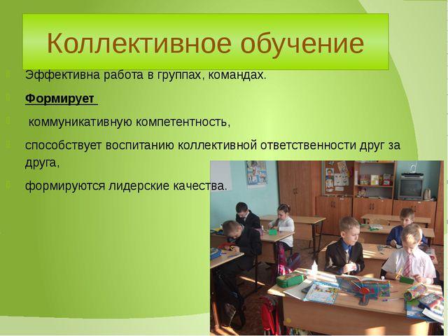 Коллективное обучение Эффективна работа в группах, командах. Формирует коммун...