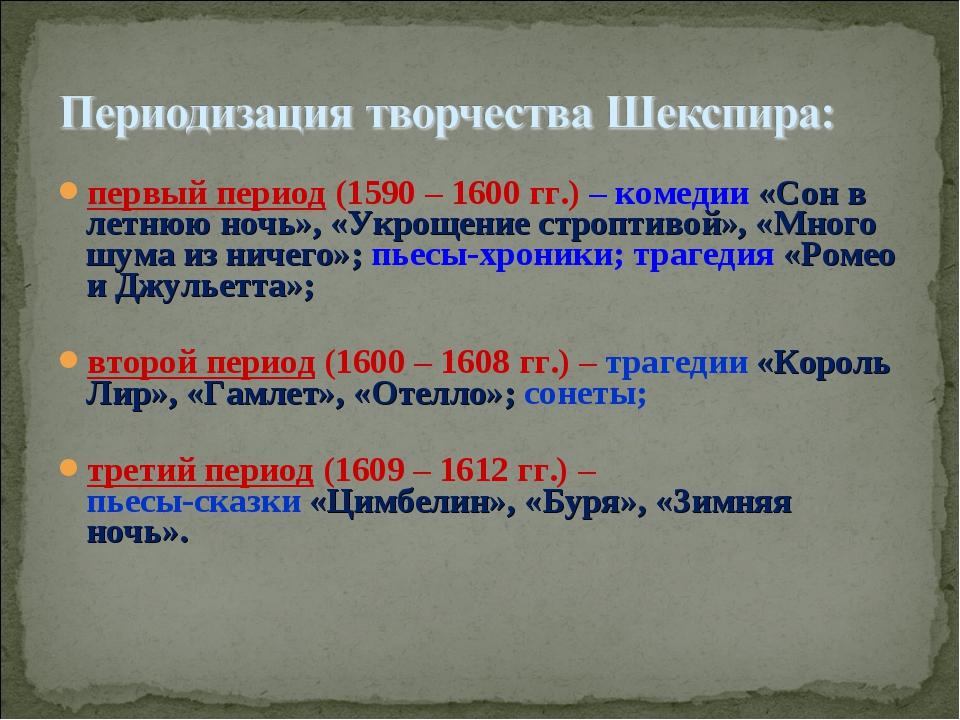 первый период (1590 – 1600 гг.) – комедии «Сон в летнюю ночь», «Укрощение стр...