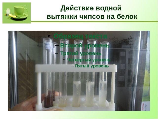 Действие водной вытяжки чипсов на белок