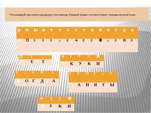 Расшифруй русскую народную пословицу. Каждой букве соответствует определенн