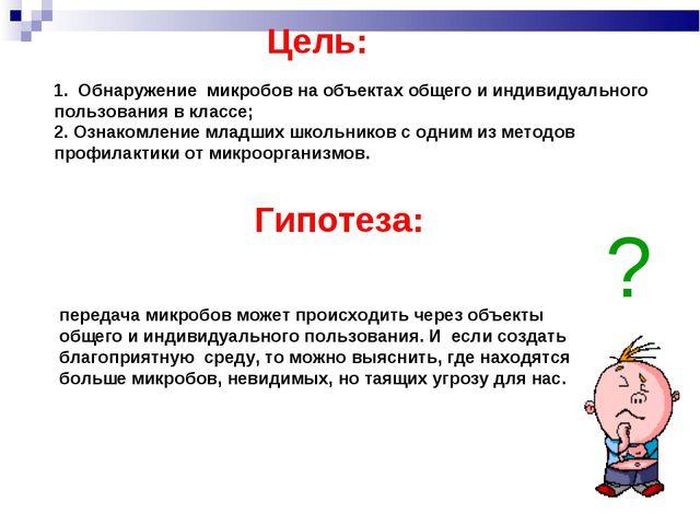 Цель: Гипотеза: 1. Обнаружение микробов на объектах общего и индивидуального...