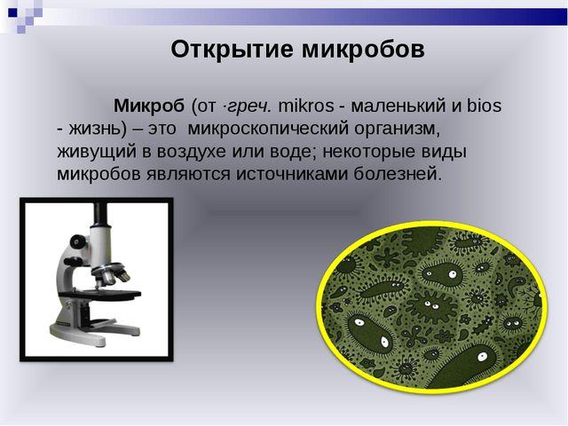 Открытие микробов Микроб (от ·греч. mikros - маленький и bios - жизнь) – э...