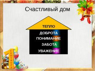 Счастливый дом ТЕПЛО ДОБРОТА ПОНИМАНИЕ ЗАБОТА УВАЖЕНИЕ