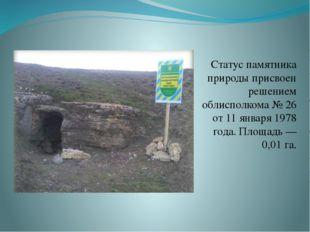 Статус памятника природы присвоен решением облисполкома № 26 от 11 января 197